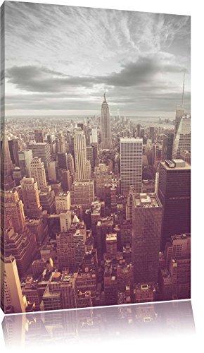 Elicottero vista di Manhattan Nero / Bianco, Dimensioni: 120x80 su tela, XXL enormi immagini completamente Pagina con la barella, stampa d'arte sul murale con telaio, più economico di pittura o un dipinto a olio, non un manifesto o un