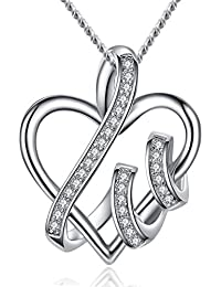 Fine Necklace for Woman Girl Distinctive Heart Pendant Sterling Silver Good Gift for Ladies