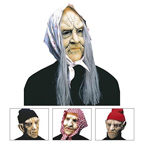 Widmann 8354E - Maske alte Frau und Alter Mann mit Kopfbedeckung (Alte Frau Kostüme Ideen)