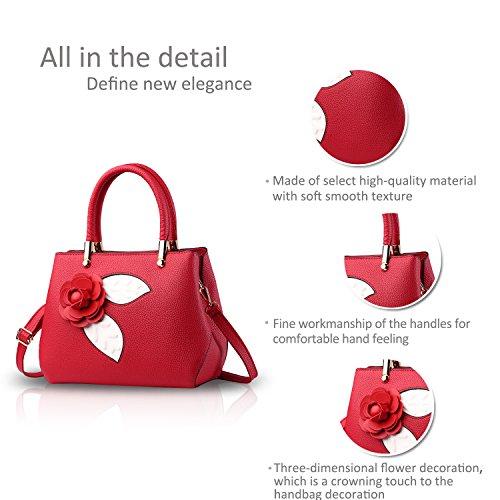 NICOLE&DORIS Donne Moda semplice borsa di Crossbody spalla borsa piccolo sacchetto morbido PU carino Totes Grigio Chiaro Vino Rosso