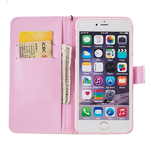 iPhone 6 Plus Hülle,iPhone 6 Plus Tasche,iPhone 6s Plus Hülle, iPhone 6 Plus iPhone 6S Plus Leder Cover,Cozy Hut PU Leder Hülle für iPhone 6 6S Plus Ledertasche Schutzhülle Case[Stand Feature] Flip Ca Schmetterlings-Blumen