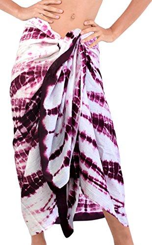 La Leela Badeanzug Hand aus 100% Baumwolle coverup Rockkleid tie dye Sarong 88x42 Zoll Violett