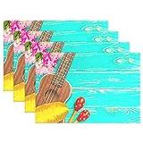 Alaza Sets de table Lot de 1, guitare sur Set de table en bois pour table de cuisine résistant à la chaleur antidérapant Tapis de table de cuisine facile à nettoyer 12x 18x 1en, polyester & polyester mélangé, Color1, 12x18 inch...