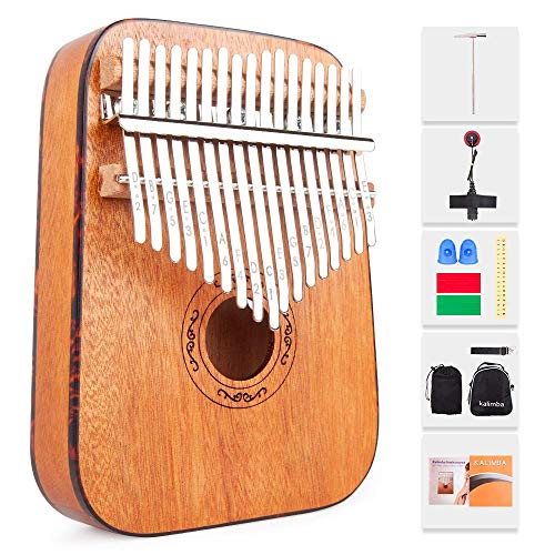 17 schlüssel kalimba, Daumenklavier Kalimba 17 Tasten, Massivholz Mbira Afrikanisches Instrument mit Lernanleitung Musikbuch und Start Kits