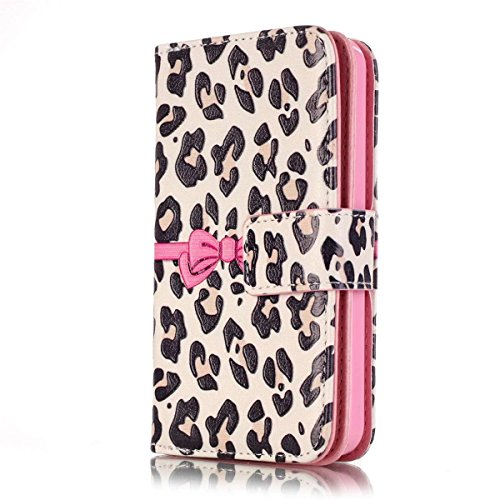 iPhone 6 Hülle Case,iPhone 6S Hülle Case,Gift_Source [Multi Card Brieftasche] [Photo card slots] Premium Magnetic PU Leder Brieftasche mit Built-in 9 Card Slots Folio Flip Hülle Case für Apple iPhone  E01-02-Leopard bow