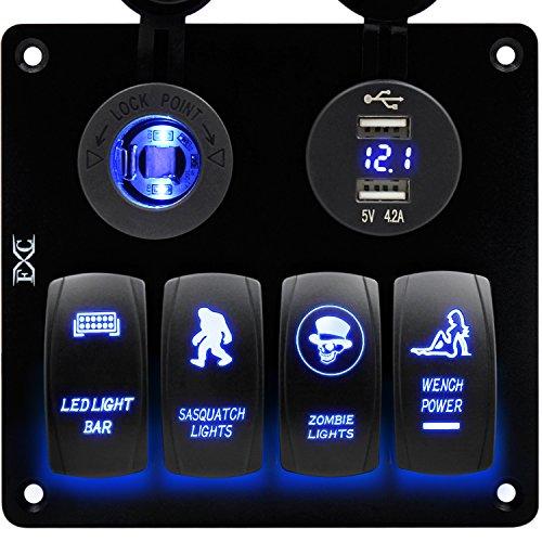 FXC Boat Wippschalter Panel Digital Voltmeter 12V Zigarettenanzünder Doppel-USB Power Ladegerät Adapter Flush Mount Wasserdicht 4Gang Schalter Platte schwarz für Wohnmobil-Auto Marine Panel-mount-voltmeter
