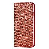 SainCat Custodia Galaxy S7 Edge, Custodia Ultra Slim Portafoglio Glitter Libro Bling Bling Shock-Absorption Pelle Flip Cover per Samsung Galaxy S7 Edge-Rosso