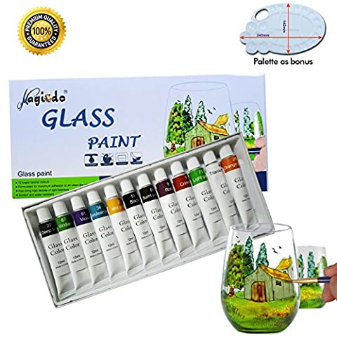 Magicdo® 12 Cols Glass Paint With Free Palette, Professional Glass Color Set, Quality Non-Toxic Paint on Glass, Multi-Surface Satin Glass Craft Paint Set, 12 x 12ml, Rich