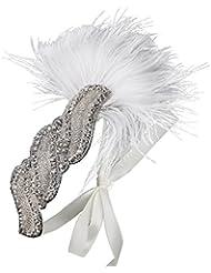 Babeyond Frauen-Weinlese-Feder-Stirnband-Braut-Kopfstück-Feder 1920s Gatsby Kopfschmuck