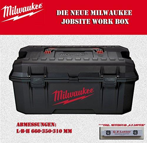 """Milwaukee Jobsite Workbox LxBxH 660x350x310mm (Werkzeugkoffer, Werkzeugkiste) ***inkl. Maßstab """"GF Lotter"""""""