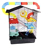 XXL Nagerkäfig Hamsterkäfig Mäusekäfig Rattenkäfig inklusive gigantischem Röhrensystem schwarz Bunt