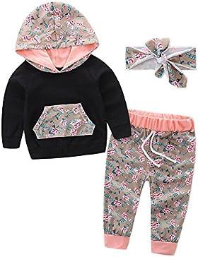 SCFEL Neugeborenes Baby-Kleinkind-Kapuzenpulli-langes Hülsen-Oberseite + langes Blumenhose + Stirnband 3Pcs das...