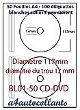 Etichette autoadesive per CD/DVD su 50fogli A4, confezione da 100