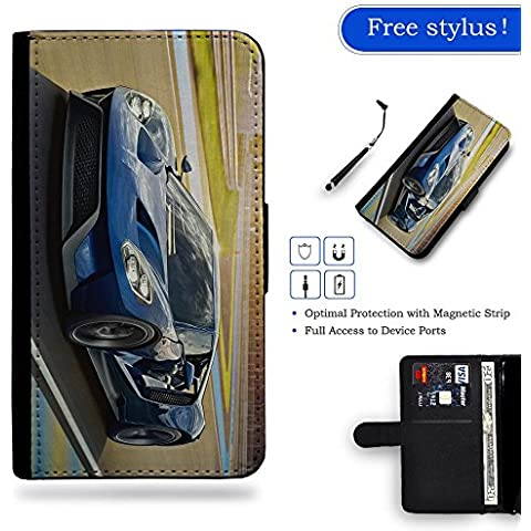 Hot Case Free Stylus // Portafoglio in Pelle Caso Protettiva Custodia Coperchio Slot Copertura LENOVO Motorola Moto Z Force / Blue Racer Driving Trendy Frenzy Front Side View Car