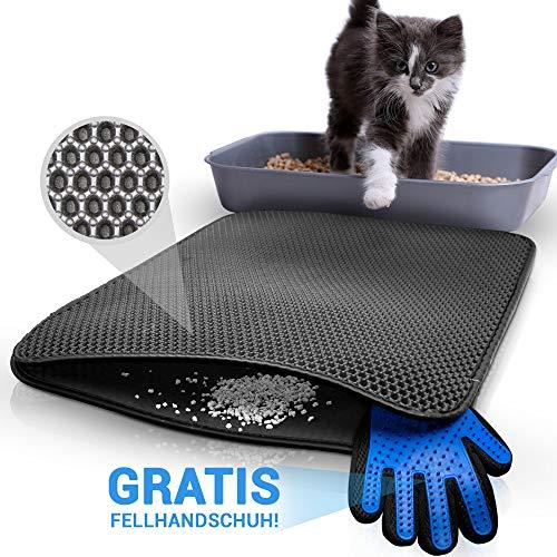 TASTELIO Katzenklo Matte 75x55cm - Inklusive gratis Fellhandschuh - Katzenstreu Matte mit...