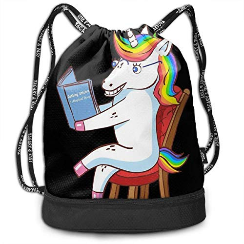 Lightweight Waterproof Large Storage Drawstring Bag for Men & Women - Dabbing Unicorn Read A Magical Story Black Cinch Backpack Sackpack Tote Sack
