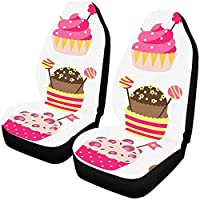 Car Seat Cover Front,Birthday Party Celebrate Cupcake Cartoon Universal Fit Auto Drive Car Seat Covers Protector for Vehicle Full Set(Set of 2 Front)