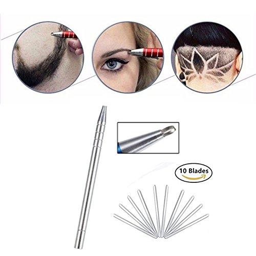 Rasierstift Tool für Haar, Edelstahl Salon Graviert Stift, Styling Augenbrauen Bart Gestaltung Gerät Set Salon DIY Haar Werkzeug mit 10 Klingen (Silber)