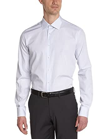 Tommy Hilfiger Tailored - Johny - Chemise business - Coupe droite - Col italien - Manches longues - Homme - Bleu (412) - FR : X-Large (Taille Fabricant : 43)