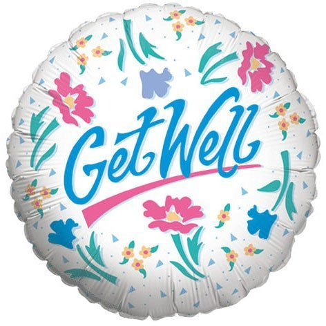"""Mylar Foil Balloon 18"""" Round Get Well Soon Gift Ideas White Floral Confetti Blue"""