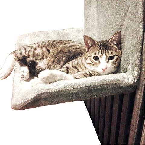 Chat Transat Hamac Chaton Ensoleillé, Super Soft Flanelle Et Solid Metal Frame, Avec Machine Lavable Mat , Grey