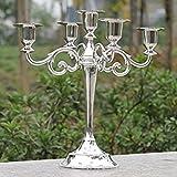 olayer Metall Crafts Legierung Kerzenhalter 5-armig Kerzenständer Kandelaber Ständer Home Hochzeit Dekoration Höhe 27,9cm silber