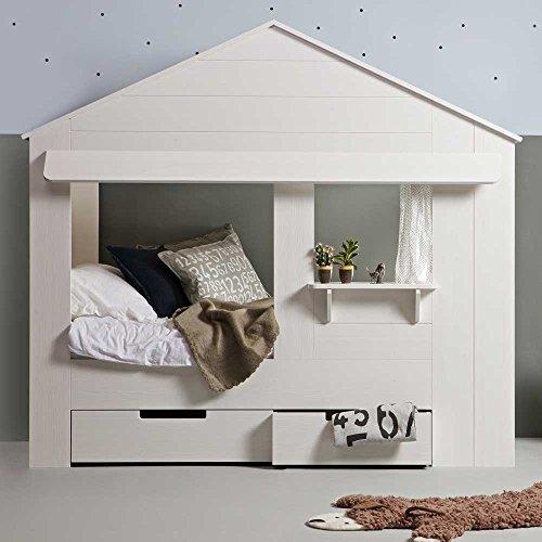 *lounge-zone Hüttenbett Kinderbett Hausbett Haus Bett Abenteuerbett Spielbett HUISIE Massivholz Holz weiß Kiefer gebürstet 90x200cm INKL 2 SCHUBLADEN 13739*