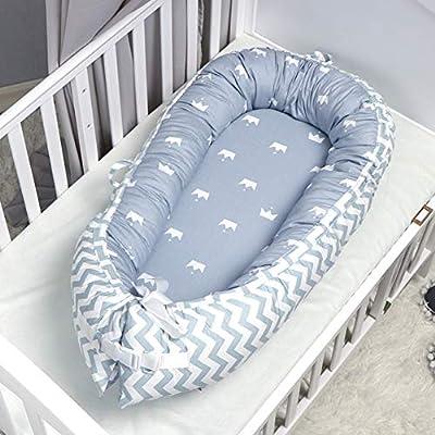 Cuna, Cama para Bebé Cubierta Nido Transpirable para Recién Nacido con Algodón Orgánico Súper Suave