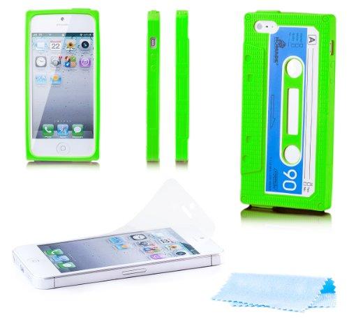 Kassette Iphone Cover 5s (Apple iPhone SE / 5S / 5 | iCues Kassette Case Grün | [Display Schutzfolie Inklusive] Kassettenhülle Tape Schutzhülle Hülle Cover Schutz)