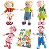 Haba Biegepuppen Little Friends Set 5-teilig Minipuppen Mali Lilli Milla Steven Matze Puppenhaus Zubehör