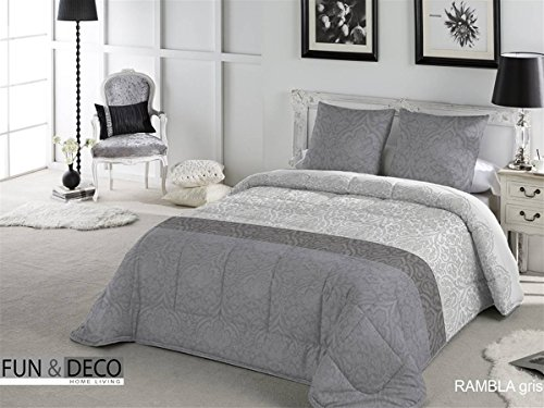 Fundeco - Edredón Conforter RAMBLA cama 150 cm - Gris