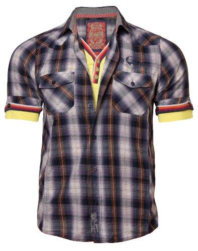 Laundry tokyo chemis'à carreaux à manches courtes pour homme avec empiècement en coton 25286 mH Orange - Gewaschen Orange