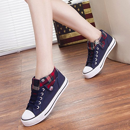 Azbro Fashion Lace-up Plaid Canvas Woman Sneakers Deep Blue