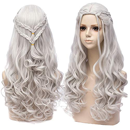 Daenerys Targaryen Perücke Grau Lange Damen Game of Thrones Wellenförmige Mode Locken Perücken mit Pony Synthetische Wig Halloween Cosplay 008B (Daenerys Targaryen Kostüm Hochzeit)