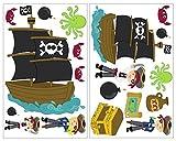plot4u 19-teiliges Piraten Wandtattoo Set Schatzkarte Piratenschiff in 5 Größen (2x16x26cm Mehrfarbig)