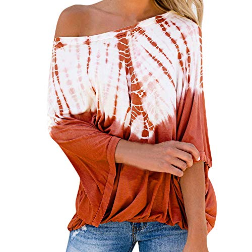 JUTOO Frauen Casual Tie Gefärbte Print Langarm Bluse Aus Schulter Herbst Lose Tops(Orange,EU:44/CN:XL)