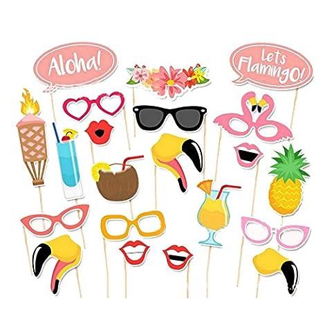 21pcs Flamingo Tropical d'été Photo Booth Props Party Décoration de mariage