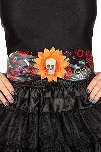 (Jannes 33864 Halloween-Gürtel Day of The Death mit Blume und Totenkopf Tag der Toten Dia de los Muertos Halloween Grusel Horror ScaryEinheitsgröße Multi)