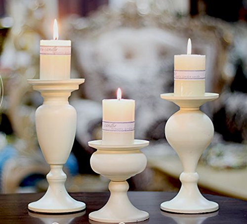 Di Grazia Wrought Iron Pillar Candle Holder, Retro Table Top Candle Stick, Set of 3 Different Sizes (Ivory White, 3pc-White-Pillar-Candle-Stick)