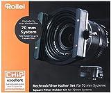 Rollei Profi Filterhaltersystem für 70mm Rechteckfilter - Neutralgraufilter und Grauverlaufsfilter - für Optiken mit 49mm, 52mm, 55mm, 58 mm Filtergewinden - Aluminium