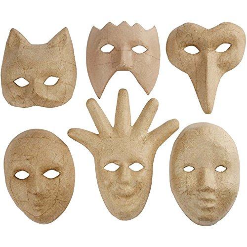 Masken, H: 12-21 cm, medium, (Pappmaché Designs Maske)
