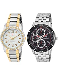 Swiss Grand Silver & Gold Stainless Steel Strap Analogue Watch For Men Pack Of-2 (SG-1201)