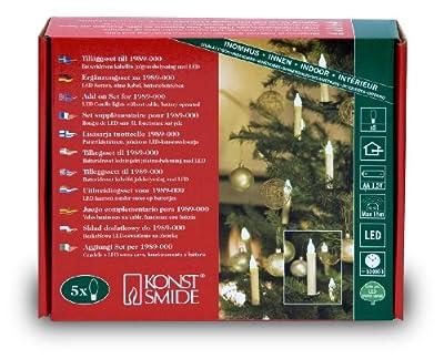 Konstsmide 2989-000 Funk-Baumkerzen (5er-Set, Erweiterung zu 1989-000, 5 zart weiße Dioden, Batterien: 5xAA 1.5V, für innen) von Konstsmide - Lampenhans.de
