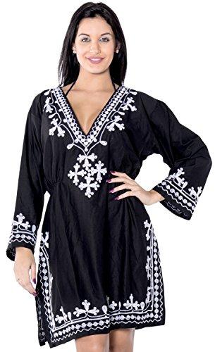 La Leela weiche, glatte Kunstseide gestickt vertuschen Frauen Tunika schwarz Kaftan (Genial Licht Womens)