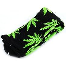 Calcetines altos unisex, de la marca Zehui, con diseño de hojas de marihuana Black