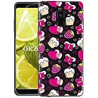 OKZone Funda Galaxy A8 Plus 2018 [con Protector Pantalla], Ultra Delgado Claro Silicona Anti-Rasguño Protección de Esquina Protector Completo Caso para Samsung Galaxy A8 Plus 2018 (Fresa)