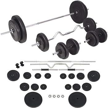 vidaXL Juego de Pesas 90kg Barra y Mancuernas Fitness Musculación Gimnasio Gym