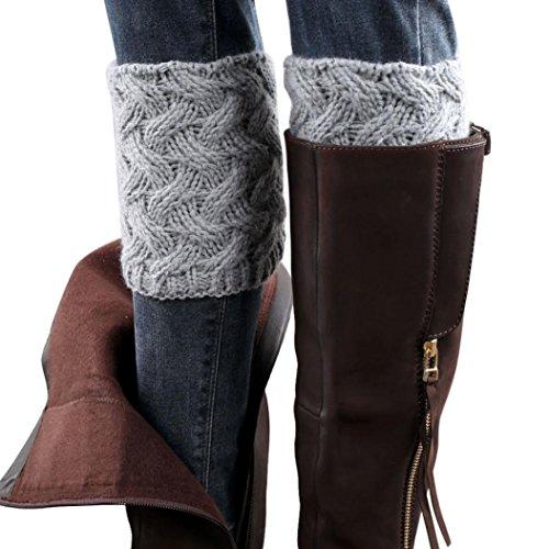 Calcetines,RETUROM caliente de la manera invierno de las mujeres párrafo del escrito grueso de la aguja calentadores de la pierna Calcetines cubierta de arranque (Gris)