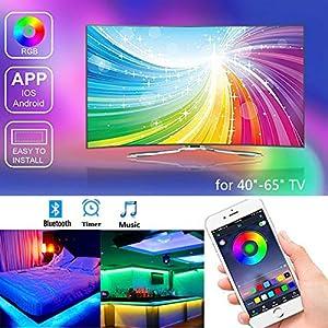 LED TV Hintergrundbeleuchtung, RGB LED-Streifen USB-betrieben für 40-60 Zoll Fernseher, APP-Steuerung synchron zur Musik, Vorspannungs beleuchtung, RGB wasserdicht IP65,für Android iOS(4pcs x 50cm)