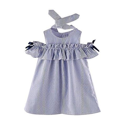 Vovotrade Sommer Kleinkind Kinder Baby Mädchen Outfit Kleidung trägerlosen Streifen Kleid + Stirnband Set 2PCS (Größe: 5/6 Jahre alt)